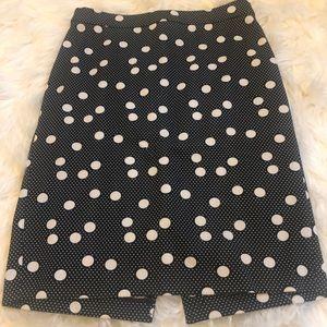 Black and white polka dot pencil skirt
